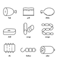 Line art meat icon set vector image vector image