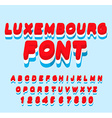 Luxembourg font Luxembourgen flag on letters vector image vector image