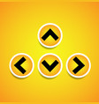 orange yellow arrows arrowheads pointing up down vector image vector image