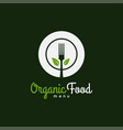 organic food logo plate with fork and leafs vector image vector image