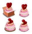 Pink cake with red biscuits in shape of heart vector image vector image