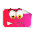 Pink sticker with face vector image vector image