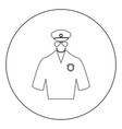 police black icon in circle isolated vector image
