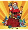 Santa Claus with bag of gifts Christmas and New vector image