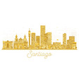 santiago chile city skyline golden silhouette vector image vector image