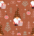 seamless pattern with christmas gnome and gift vector image vector image