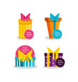 set of birthday gift boxes vector image vector image
