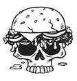 skull burger fries vector image vector image