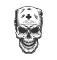skull in doctor mask vector image vector image