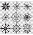 snowflake icon set on transparent vector image