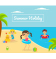 summer holliday banner template with cute kids vector image vector image