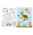 Turtle coloring pages cartoon swimming sea