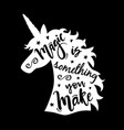 unicorn head silhouette with magic is something vector image vector image