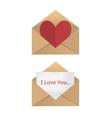valentine in open envelope vector image vector image