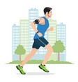 a man running while listening to music vector image vector image