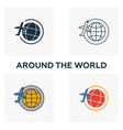 around the world icon set four elements in vector image