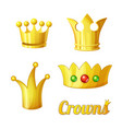 cartoon golden crowns set for king and vector image