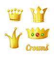 cartoon golden crowns set for king vector image