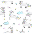 Childish seamless pattern with cute unicorn