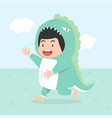 cute boy wearing dinosaur costume vector image vector image