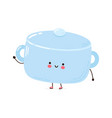 cute funny cooking pot character hand vector image vector image