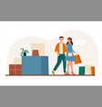 cute married couple in shopping center vector image