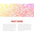 fast food line design template vector image