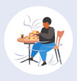 fat overweight man eating hamburgers obesity vector image