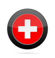Flag of Switzerland Shiny black round button vector image