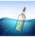 glass bottle with message floats in the water vector image