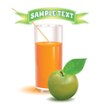 glass for juice from the ripe green apple vector image vector image