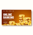 golden shiny coins big bunch dollars online vector image vector image