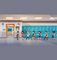 group of pupils walking in school corridor to vector image vector image