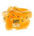 happy diwali festival card in watercolor style vector image vector image