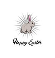 happy easter greeting card with cute bunny vector image