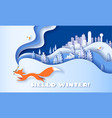 horizontal banner hello winter with fox running vector image vector image