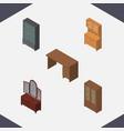 isometric furniture set of sideboard drawer vector image vector image