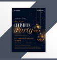 luxury dark christmas party flyer in gold theme vector image vector image
