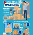 mail delivery service postman and parcels vector image vector image