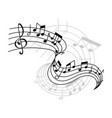music notes on staff icon vector image vector image