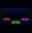 neon podium empty stage in nightclub dance floor vector image