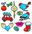 New Year stickers pins patches in cartoon 80s vector image vector image