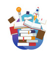 pile of books start of a new idea vector image