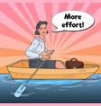 pop art business woman on boat business success vector image