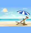 relax beach chair umbrella with sea beach vector image vector image