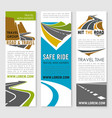 road trip and travel banner template set design vector image vector image