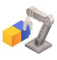 robot arm take cube icon isometric style vector image