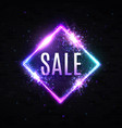 sale light 3d neon square discount sign on black vector image vector image