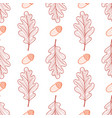 seamless background of oak leaves and acorns vector image