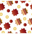 seamless pattern with puzzle pieces -red and brown vector image